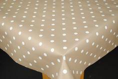 Tiny White Polka Dot on Taupe PVC Tablecloth by Karina Home 250 x 137cm Karina Home http://www.amazon.co.uk/dp/B008QWQTBI/ref=cm_sw_r_pi_dp_R2quvb02DYWMK