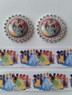 "2 Yards 1"" Princess Inspired Grosgrain Ribbon and 2 Resin  | CristinasRibbonsandsupplies - Accessories on ArtFire"
