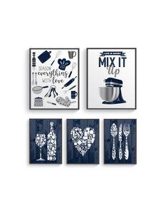 Modern Navy Blue Gray Kitchen Wall Decor, Navy Blue Kitchen wall art prints set, Kitchen prints, Modern Home Decor, Blue Dining room decor