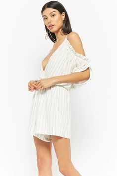 Product Name:Pinstriped Open-Shoulder Romper, Category:dress, Price:45