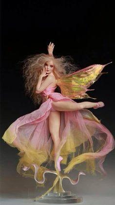 Tinkerbell's Dance Faerie by Nicole West Fantasy Art Women, Fantasy Girl, Beautiful Fairies, Beautiful Dolls, Gothic Dolls, Doll Repaint, Fantasy Character Design, Fairy Art, Fairy Dolls