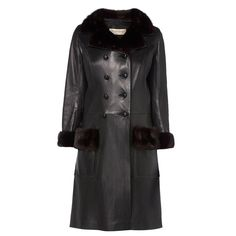 Yves Saint Laurent haute couture black leather & mink coat, Autumn/Winter…