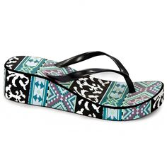 Muk Luks Women's Bright Blue Printed Wedge Flip-flops | Overstock™ Shopping - Great Deals on Muk Luks Sandals #Sandals #muk_luks #Printed #Wedge