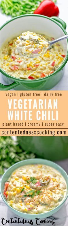 Dairy free and gluten free, the vegetarian White Chili is made with vegan cream cheese, is super easy to make and seriously delicious. A plant-based chili that is a stunner. Consider coconut milk in place of vegan creamcheese Veggie Recipes, Whole Food Recipes, Cooking Recipes, Healthy Recipes, Chili Recipes, Easy Plant Based Recipes, Hotdish Recipes, Freezer Recipes, Healthy Vegetarian Recipes