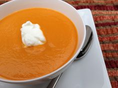 Nutrition Babes' Carrot Ginger Soup with greek yogurt dollop.