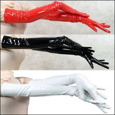 Black Red Patent Leather Opera Length Gloves 60cm Sexy Long Elbow Tight PVC | eBay