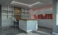 Fusion True Handle-less High Gloss White Kitchen. Digitally printed glass splashback, walnut worktop and recessed light coffer. SAFFRON INTERIORS - 01483 511068 #kitchen #design #gloss #white #glass #red #pink #walnut #wood # box #cube #lighting