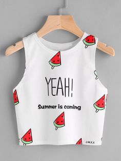 Shop Watermelon And Slogan Print Tank Top online. SHEIN offers Watermelon And Slogan Print Tank Top & more to fit your fashionable needs. Girls Fashion Clothes, Teen Fashion Outfits, Women's Fashion Dresses, Girl Outfits, Emo Outfits, Maxi Dresses, Party Dresses, Sweat Style, Cute Casual Outfits