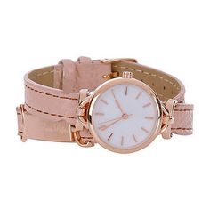 Pink rose gold tone wrap around watch <3