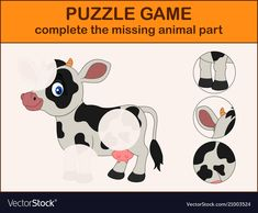 Cute cow cartoon complete the puzzle Royalty Free Vector Art Activities For Toddlers, Activities For Kids, Cute Cows, Farm Theme, Toddler Learning, Busy Book, Book Projects, Science Fair, Kindergarten Worksheets