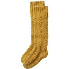 Toast Toast Cable Knit Long Socks ($47) ❤ liked on Polyvore