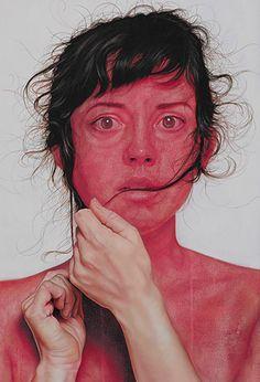 Jenny Morgan, oil on canvas {figurative art female head woman red face hands painting #loveart} jennymorganart.com