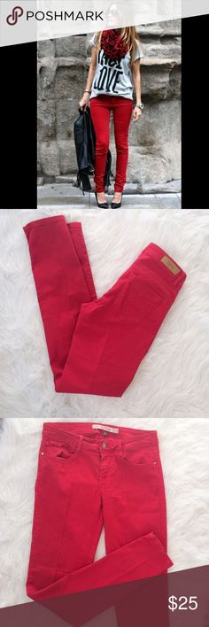 Zara red slim skinny jeans In like new condition, Zara Care Demin, trafaluc collection. Size 6, 32 inch inseam, these look great cuffed with a pot of black leather ankle booties! Zara Pants Skinny