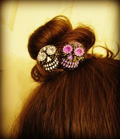 LAST ONE Haunted Hair Candy Skulls Duo Hair by HauntedHairCandy, $10.00