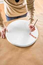 DYI- painting baseball stitching on lazy susan