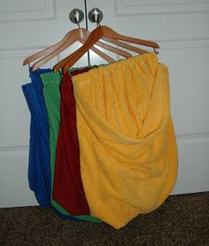 Homemade laundry hampers...great way to get the kids to sort their dirty laundry.  And it takes up no floor space!