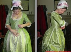 Step-by-step dressing for day, c 1775. More info: http://twonerdyhistorygirls.blogspot.com/2012/09/a-young-woman-dresses-for-day-c-1775.html