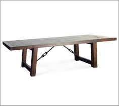 """Benchwright Extending dining table 86"""" long x 42"""" wide x 30"""" high; extends to 122"""" long; $1899 LOVE this table. Not sure if it can go outside. When leaves are out can not sit at ends of table"""