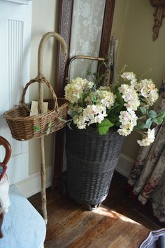 Vintage Style Handwoven Rolling French Market Basket / Shopping Cart