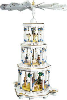Richard Gläser Weihnachtspyramide Christi Geburt 3stöckig weiß