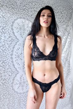 12f8960893909 Lingerie Gift for Her Sheer Black Lace Bralette and Thong Set See Through  Sexy Lingerie Vintage