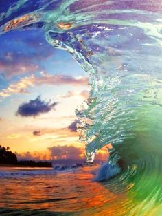 A Strong and Lovely Wave Crashes Forward as the Evening Sun Sets. - Clark Little Photography