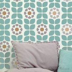 Dorit Flower Border Stencil - S - £8.40. This modern flower stencil from thestencilstudio.com makes decorating your home so easy, just paint and repeat!  Great for living room walls, match your paint to your soft furnishings for that personal touch.