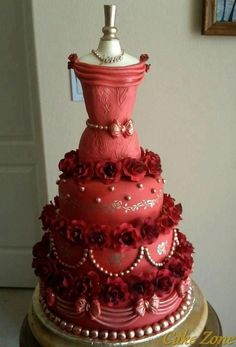 Red wedding dress cake