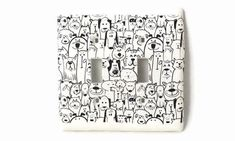 Dog Art Dog Switch Plate Double Light Switch Plate by PolymerPamE