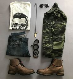 Choosing Stylish Clothes for Men-A How-to Guide – Top Fashion For Men Swag Outfits Men, Camo Outfits, Casual Outfits, Casual Wear, Men Casual, Urban Fashion, Mens Fashion, Look Man, Rocker