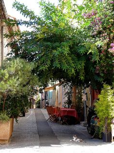 Street in old Saint Tropez, Cote d'Azur, France