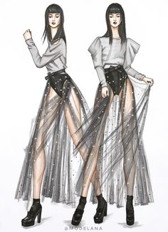Norma-Kamali-Ana-Belen-Be-Inspirational-❥Mz. Dress Design Sketches, Fashion Design Drawings, Fashion Sketches, Croquis Fashion, Fashion Drawing Dresses, Fashion Illustration Dresses, Fashion Illustrations, Moda Fashion, Fashion Art