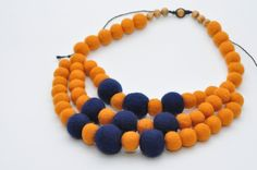 Yellow and dark blue Eco Jewelry Original woman accessory Unique style necklace Felt Necklace Wool Jewelry Felt Bead Textile Jewelry by FeltNecklace on Etsy