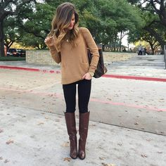 fall outfit idea, winter outfit with black jeans and brown booties, tall brown leather boots, knee-high brown leather heeled boots, black jeans, tan sweater, fall neutrals outfit, LV neverfull monogram tote