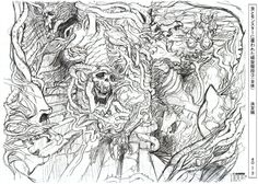 sketch art of a nightmare scenario of monsters going down the stairs.