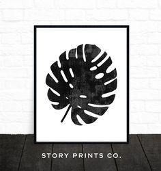 Monstera Leaf Print Printable Art Plant Print by StoryPrintsCo