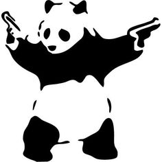 Banksy Inspired - Panda w/ Guns - LARGE - Vinyl Wall Decal, Sticker
