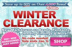500 more items just added! Winter Clearance Sale at www.beadaholique.com - new markdowns of up to 60% on thousands of beads, charms, pendants, findings, chain and more for #beading and #DIY #jewelry-making. Supplies limited—shop early for the best selection!