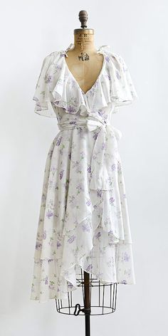 vintage 1970s purple floral ruffle wrap summer dress