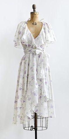 vintage 1970s purple floral ruffle wrap summer dress
