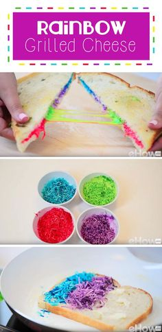 Rainbow grilled cheese is a magical, fun treat for kids and adults alike! Cheese with a little food coloring goes a long way to make our favorite comfort food even more amazing! How-to here: http://www.ehow.com/how_12343473_rainbow-grilled-cheese-recipe.h