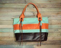 Top handle Bag, Colorful Leather Purse, Orange Leather Handbag, Aqua Purse, Leather Tassels, Leather Fringe Bag, Midium Size Purse