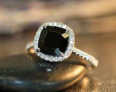 Black Spinel Halo Diamond Engagement Ring in 14k White Gold Pave Diamond Wedding Band 8x8mm Cushion Cut Black Spinel Gemstone Ring