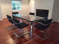 6 Vintage Tubular Brno Dining Chairs Mies Van Der Rohe Knoll Mid...