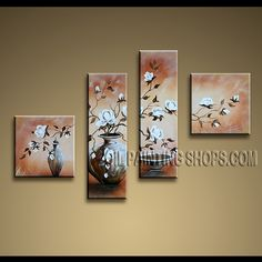 Large Contemporary Wall Art Hand-Painted Art Paintings For Living Room Tulip Flowers. This 4 panels canvas wall art is hand painted by Anmi.Z, instock - $128. To see more, visit OilPaintingShops.com
