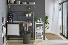 IKEA - SUNNERSTA, Utility cart, Gives you extra storage in your kitchen. You can use the cart in different ways, including as an extra work area in the kitchen, as practical storage in the hall or as a different nightstand in your bedroom. Mini Kitchen, Kitchen Cart, Kitchen Sink, Frame Shelf, Utility Cart, Sink Accessories, Wall Organization, Countertops, Kitchens