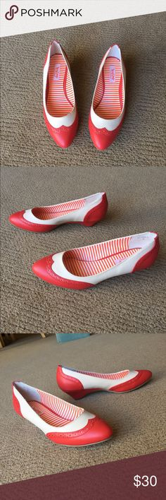 """🍓B.A.I.T.  Ida Heeled Flats 🍓 These unbelievably adorable heels from BAIT come in a fabulous coral/ poppy red color! I'm madly in love with these, but they sadly don't fit me 😭. Beautiful wingtips & 1.5"""" heels make these babies oh so dapper! 🎩 Only worn once & are in overall great used condition. There are small tears along the lining by the heels (pls see photos) but hardly noticeable when worn. All man made materials. Size 8 (insole is 10,"""" 25.5 cm- please measure yourself first!)…"""