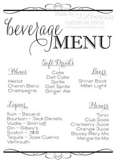 Wedding drink menu sign digital download by InnovativeGoodies ...
