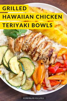 Grilled Hawaiian Chicken Teriyaki Bowls with coconut rice, zucchini squash, bell peppers, onions, and pineapple topped with a delicious teriyaki sauce! Recipes Using Cooked Chicken, Easy Chicken Dinner Recipes, Canned Chicken, Chicken Teriyaki Sauce, Teriyaki Bowl, Hawaiian Chicken, Pineapple Chicken, Broccoli Recipes, Pasta Recipes