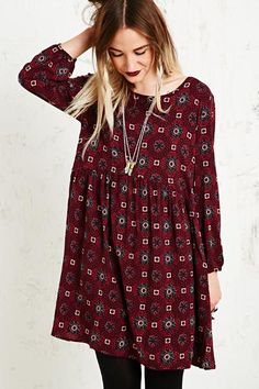 Staring at Stars Tile Print Dress in Burgundy at Urban Outfitters